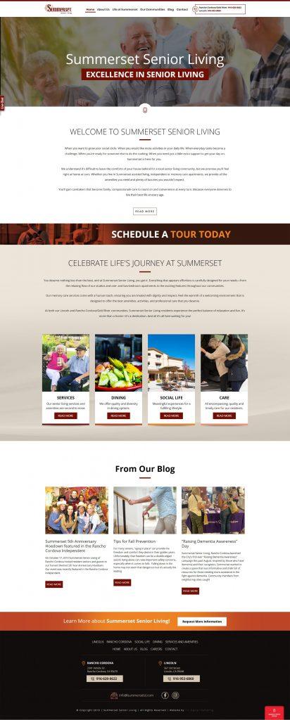 Summerset Senior Living Website Development Project