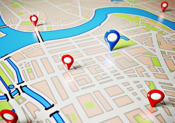 A map with markers on it representing Google My Business listings