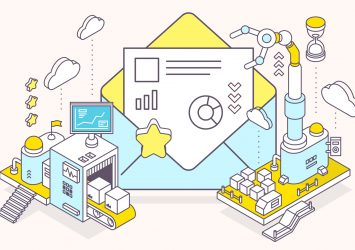An illustrated machine with conveyor belts, mail, and a report, representing marketing automation for small businesses