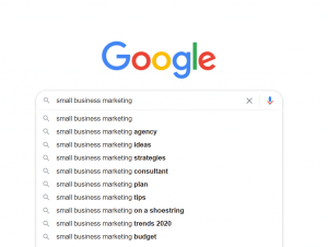 "Google's predictive search results that show up as you type - for ""small business marketing"""