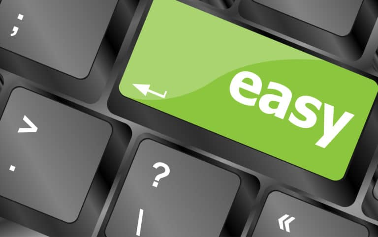 """A keyboard with a green """"easy"""" button where the Enter key usually is"""