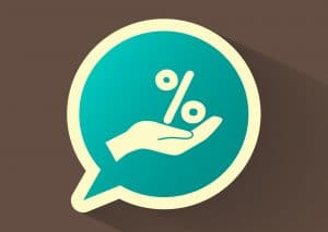 An illustrated hand in a chat bubble holding a percent sign, representing giving someone a discount